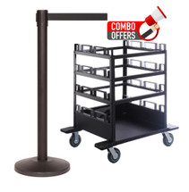 QueCombo-12H | (12) 11.0' Belt / Black Posts & (1) Horizontal Stanchion Cart