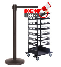 QueCombo-18H | (18) 11.0' Belt / Black Posts & (1) Horizontal Stanchion Cart