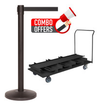 QueCombo-18V | (18) 11.0' Belt / Black Posts & (1) Vertical EZ Lift Stanchion Cart