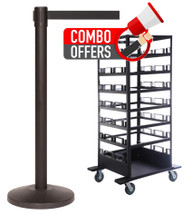 QueCombo-21H | (21) 11.0' Belt / Black Posts & (1) Horizontal Stanchion Cart