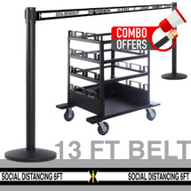 QueCombo-12H Social Distancing | (12) 13.0' Social Distancing Belt / Black Posts & (1) Horizontal Stanchion Cart