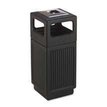 Canmeleon Ash/Trash Receptacle, Square, Polyethylene, 15 gal, Textured Black