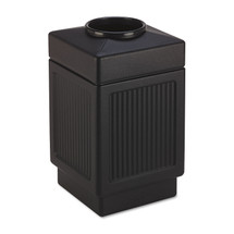 Canmeleon Top-Open Receptacle, Square, Polyethylene, 38 gal, Textured Black