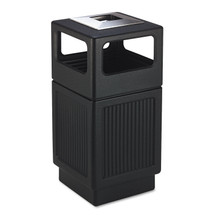 Canmeleon Ash/Trash Receptacle, Square, Polyethylene, 38 gal, Textured Black