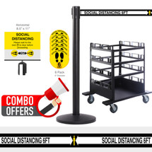 QueCombo-12H Social Distancing Bundle | (12) 13.0' Social Distancing Belt / Black Posts & (1) Horizontal Stanchion Cart, Floor Decal & Sign Bundle