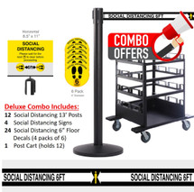 QueCombo-12H Social Distancing Deluxe Combo | (12) 13.0' Social Distancing Belt / Black Posts & (1) Horizontal Stanchion Cart, 24 Floor Decals & 4 Signs