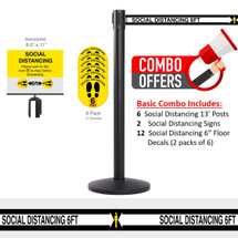 QueCombo-6 Social Distancing Basic Combo | (6) 13.0' Social Distancing Belt / Black Posts & , 12 Floor Decals & 2 Signs