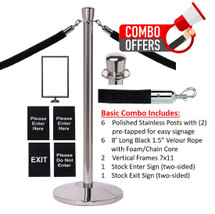 QueCombo-6 Basic Kit | (6) Polished Stainless Posts, 6 Velour 8'L Black Ropes, 2 Frames & 2 Signs