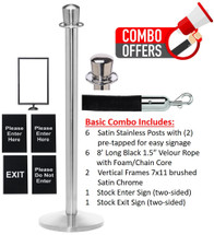 QueCombo-6 Basic Kit | (6) Satin Stainless Posts, 6 Velour 8'L Black Ropes, 2 Satin Chrome Frames & 2 Signs
