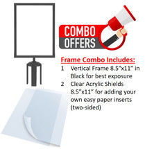 8.5x11 Frame/Clear Acrylic Combo - for Retractable Belt Stanchions