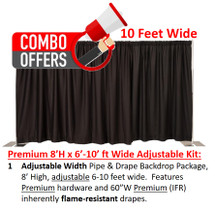 Premium Pipe & Drape Kit - 8'H x 6'-10'W Adjustable w/drapes & hardware