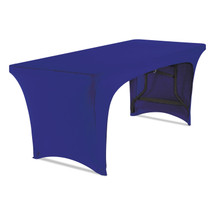 """Stretch-Fabric Table Cover, Polyester/Spandex, 30"""" x 72"""", Blue, Open Design"""