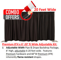 Premium Pipe & Drape Kit - 8'H x 6'-20'W Adjustable w/drapes & hardware
