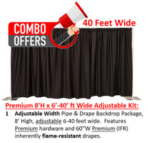 Premium Pipe & Drape Kit - 8'H x 6'-40'W Adjustable w/drapes & hardware