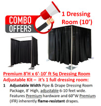Premium Pipe & Drape Dressing Room Kit - 8'H x 6'-10'W Sq. Adjustable w/drapes & hardware