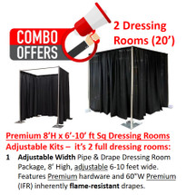 Premium Pipe & Drape Dressing Room Male/Female Kit - 8'H x 6'-20'W Sq. Adjustable w/drapes & hardware
