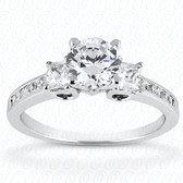 Women's 14K Round Semi Mount Ring Princess Side Stones