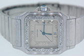 Womens Cartier Diamond Santos Midsize