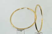 Womens 14K Yellow Gold Diamond Cut Hoop Earrings - LC293