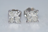 14k Princess Cut Diamond Stud Earrings - EK05