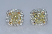 14k Cushion Cut Natural Fancy Yellow Diamond Earrings - EK10