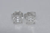 14k Asscher Cut Diamond Stud Earrings - EK11
