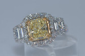 14k Radiant Cut Natural Fancy Yellow Diamond Ring - EK12