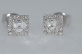 18k Asscher Cut Diamond Stud Earrings - EK19