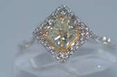 18k & Platinum Radiant Cut Natural Fancy Yellow Diamond Ring - EK22