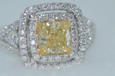 Cushion Cut Natural Fancy Yellow Diamond Ring - EK34