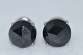 4.00 Carat Black Rose Cut Diamond Stud Earrings - EK36