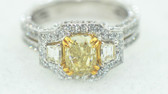 Diamond Cushion Cut Natural Fancy Yellow Ring - EK43