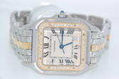 Womens Cartier Panthère Midsize 18K Gold Two Tone Diamond Watch
