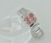 Cushion Cut Fancy Pink & White Diamond Ring - EK47
