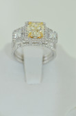 Natural Fancy Yellow 3.52 Carat Cushion Cut Diamond Ring - EK52