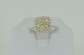 2.58 Carat Natural Fancy Light Yellow Radiant Cut Diamond Ring - EK54