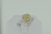 2.20 Carat Natural Fancy Yellow Radiant Cut Diamond Ring - EK56