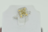 3.06 Carat Natural Fancy Yellow Cushion Cut Ring - EK57