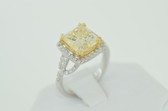 5.13 Carat Natural Fancy Yellow Princess Cut Diamond Ring - EK58