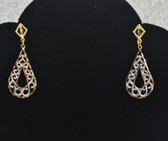 Womens 14k Two Tone Oval Shape Movement Earrings