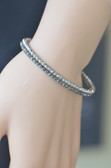 Womens 14K White Gold Diamond Cut Bracelet - LC312