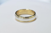 CR - Mens Platinum and 18K Gold Basic Carved Wedding Band - MB01