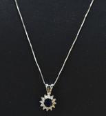 Womens Diamond Genuine Sapphire Gemstone Flower Pendant - LC327