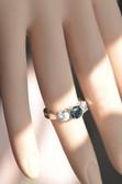 14K White Gold Three Stone Genuine Sapphire Ring- LC325