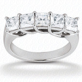 Princess Shared Prong Set Diamond Wedding Band - WB354