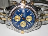 Mens Breitling Chronomat Evolution 18K Gold Diamond Watch - MBRT02