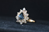 14K Yellow Gold Lab-created Pear Shape Sapphire With 3/4CT. T.W. Diamond Ring - LC323