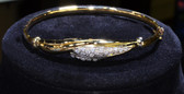 18K Yellow Gold Hollow Bangle with Pavé Cubic Zirconia Stones, Italian Vintage Piece - LC339