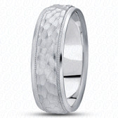 White Gold Hammer Finish 8mm Band Width