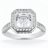 As Shown : Asscher Cut Diamond Measures 5 x 5mm (Approximately 0.80 tcw)